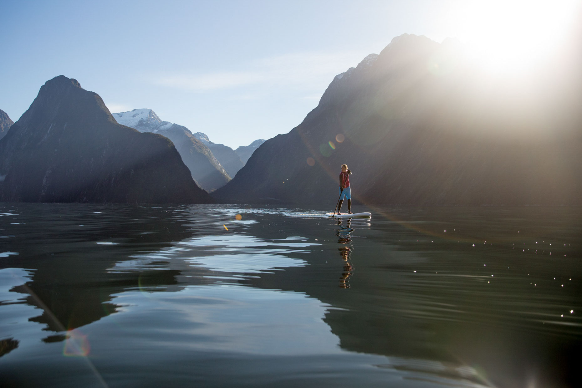 Stand up paddle boarding Milford Sound
