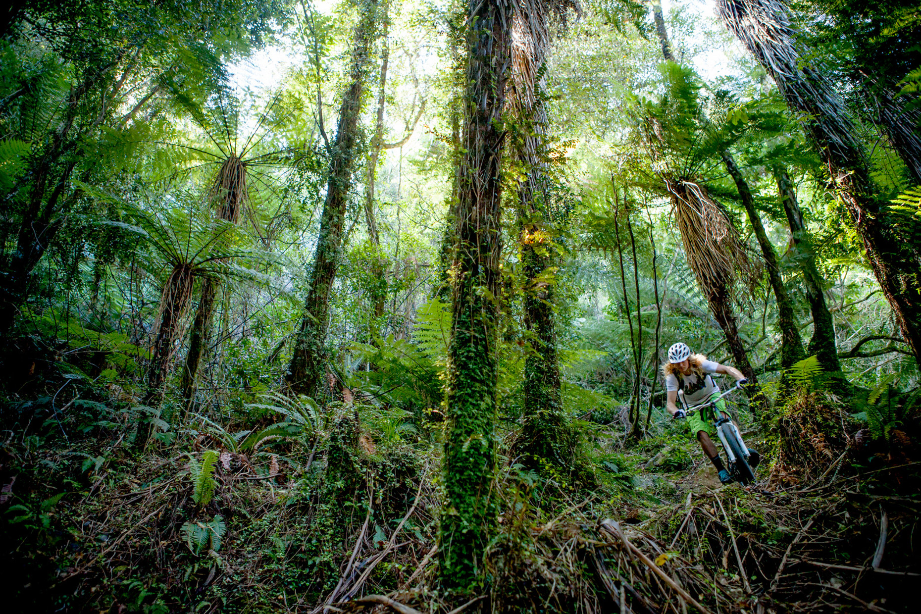 Kelly McGarry mountain biking Nydia Track, Marlborough Sounds